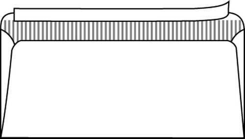 Kirjekuori C65 (114x229) valkoinen, tarralla, ilman ikkunaa, 1000kpl/ltk / 1548