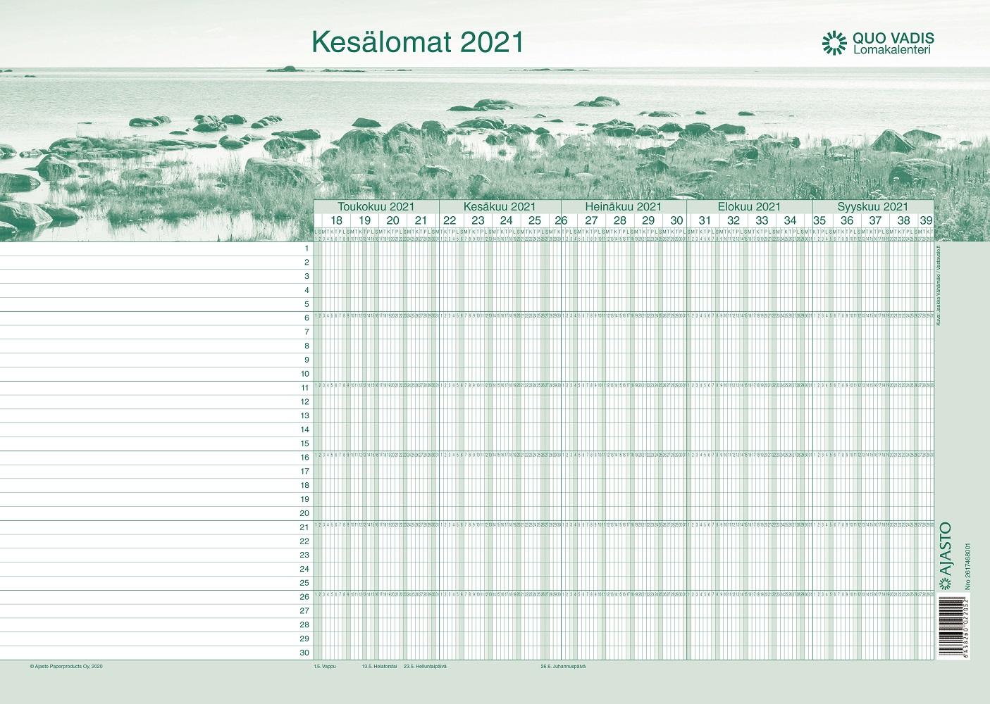 Quo Vadis -lomakalenteri 2021-2022