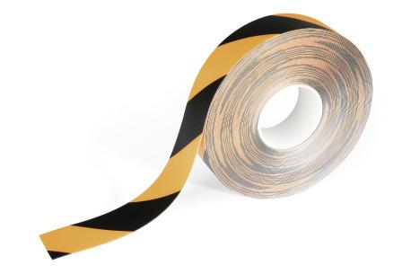 Duraline® merkintäteippi 50mm x 15m, musta/keltainen, irrotettava