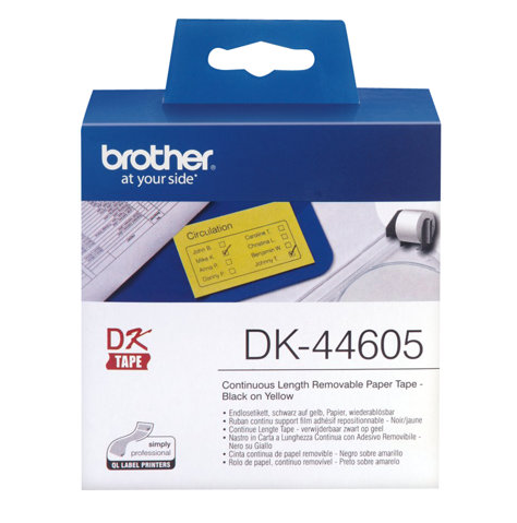 BROTHER P-Touch DK-44605 removable yellow thermal paper 62mm x 30.48m