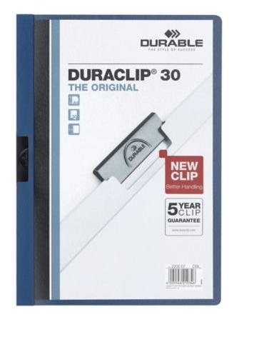 Durable Duraclip puristuskansio A4 kapasiteetti 30 arkkia sininen