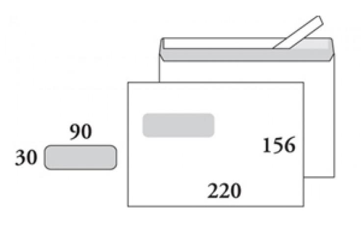Kirjekuori E5 (156x220), valkoinen, tarranauha, ikkuna 30x90/1956