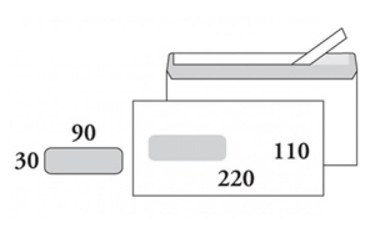 E65 kirjekuori, valkoinen, tarra, ikkuna 30x90/ STE65RH3090