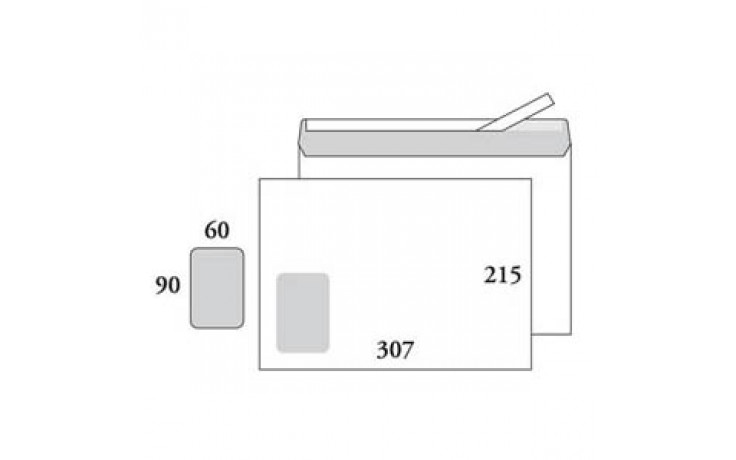 Kirjekuori E4, ikkuna 60x90, valkoinen, tarra, 500 kpl/ltk / STE4AH9060
