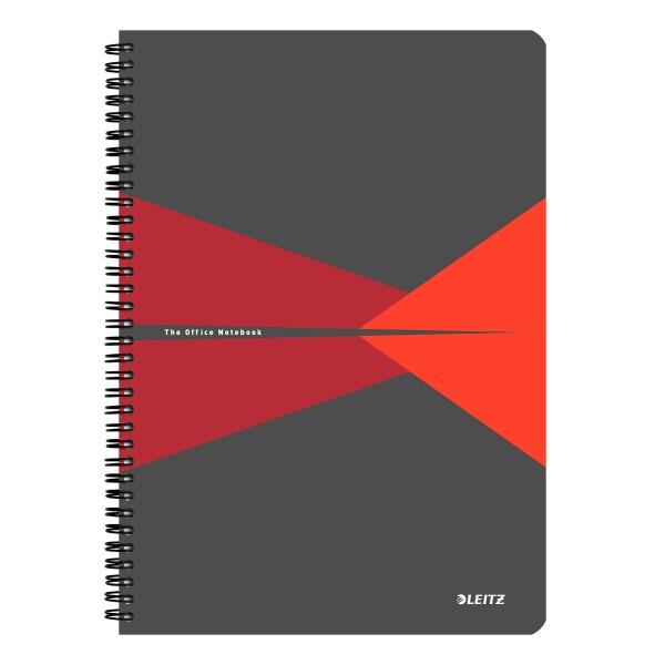 Muistikirja Leitz Office PP A4 viivat, punainen
