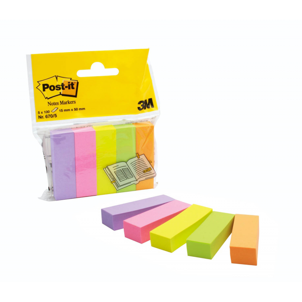 Post-it merkkaaja, 5 väriä, 15x50mm, 6705