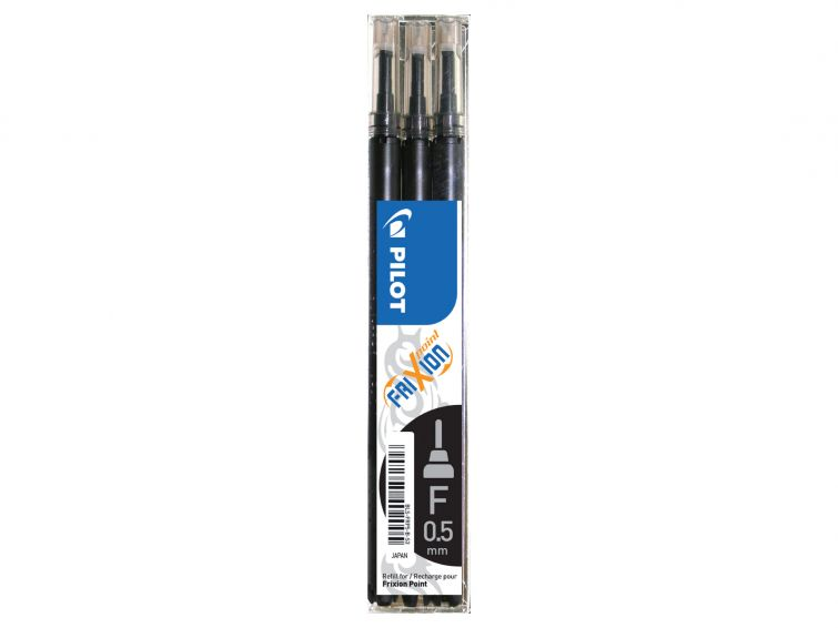 Pilot Frixion refill 0,5 musta 3-pack