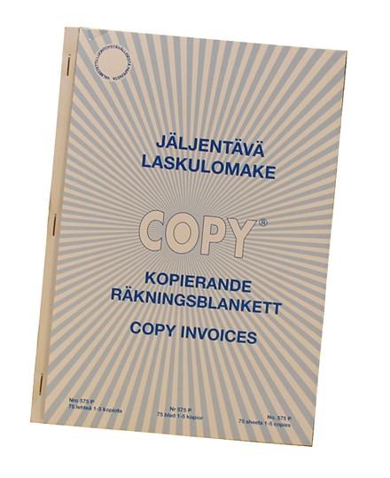 Laskulomake jäljentävä A5, pysty, 75 lehteä, suomi/ruotsi/englanti
