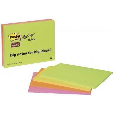 Post-it Super Sticky Meeting Notes viestilaput, neonvärit, A5, 4 lehtiötä