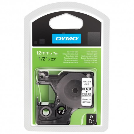 S0720500 Dymo D1 12 mm Musta/kirkas 45010
