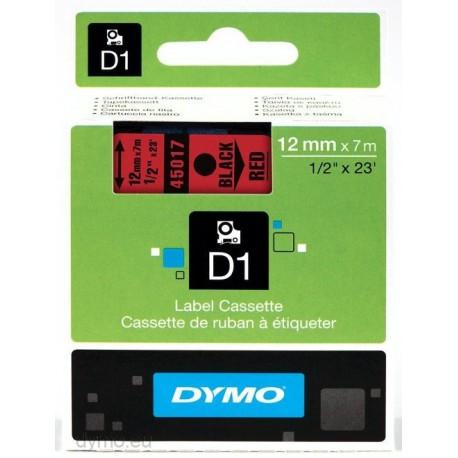 S0720570 Dymo D1 12 mm Musta/punainen 45017