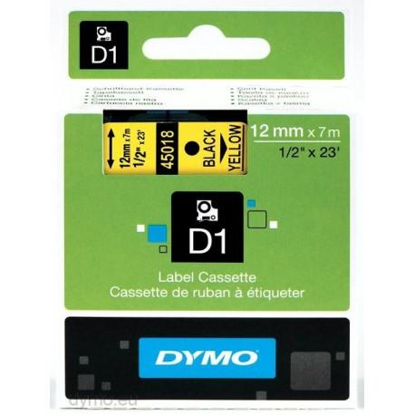 S0720580 Dymo D1 12 mm Musta/keltainen 45018