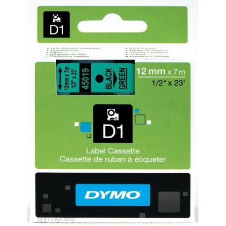 S0720590 Dymo D1 12 mm Musta/vihreä 45019