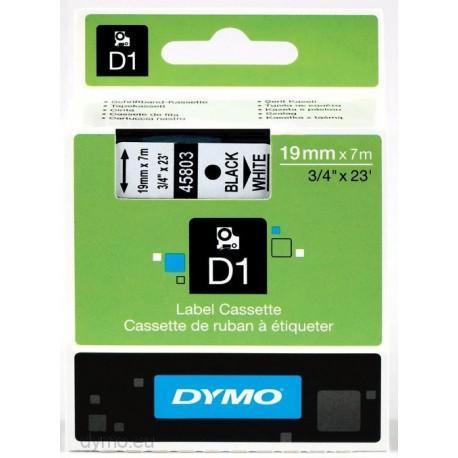 S0720830 Dymo D1 19 mm Musta/valkoinen 45803