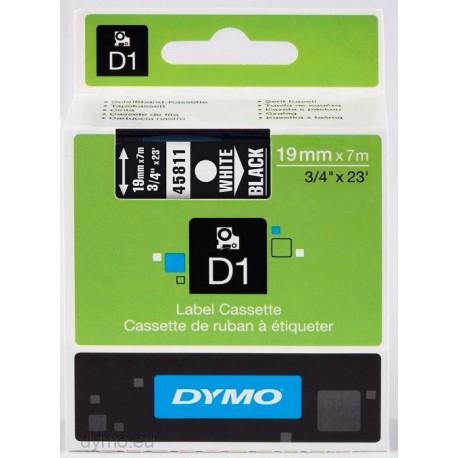 S0720910 Dymo D1 19 mm Valkoinen/musta 45811