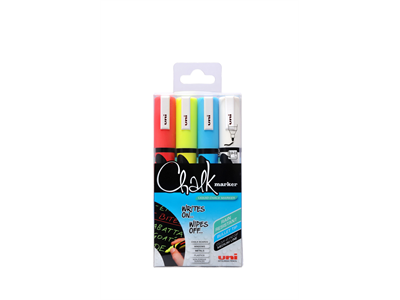 Lasi/liitutaulukynä Uni Chalk Marker PWE-5M pyöreä 4 väriä