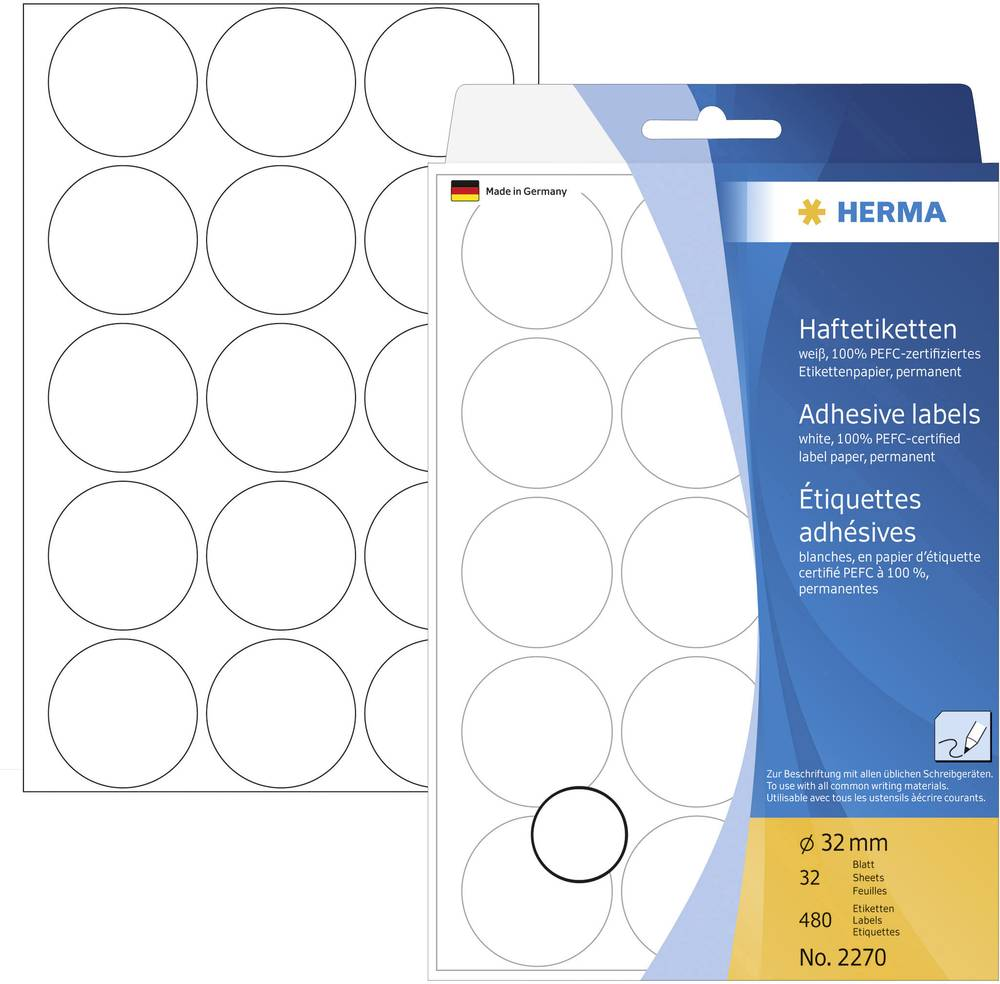 HERMA LABEL MANUAL Ø32 WHITE (480)