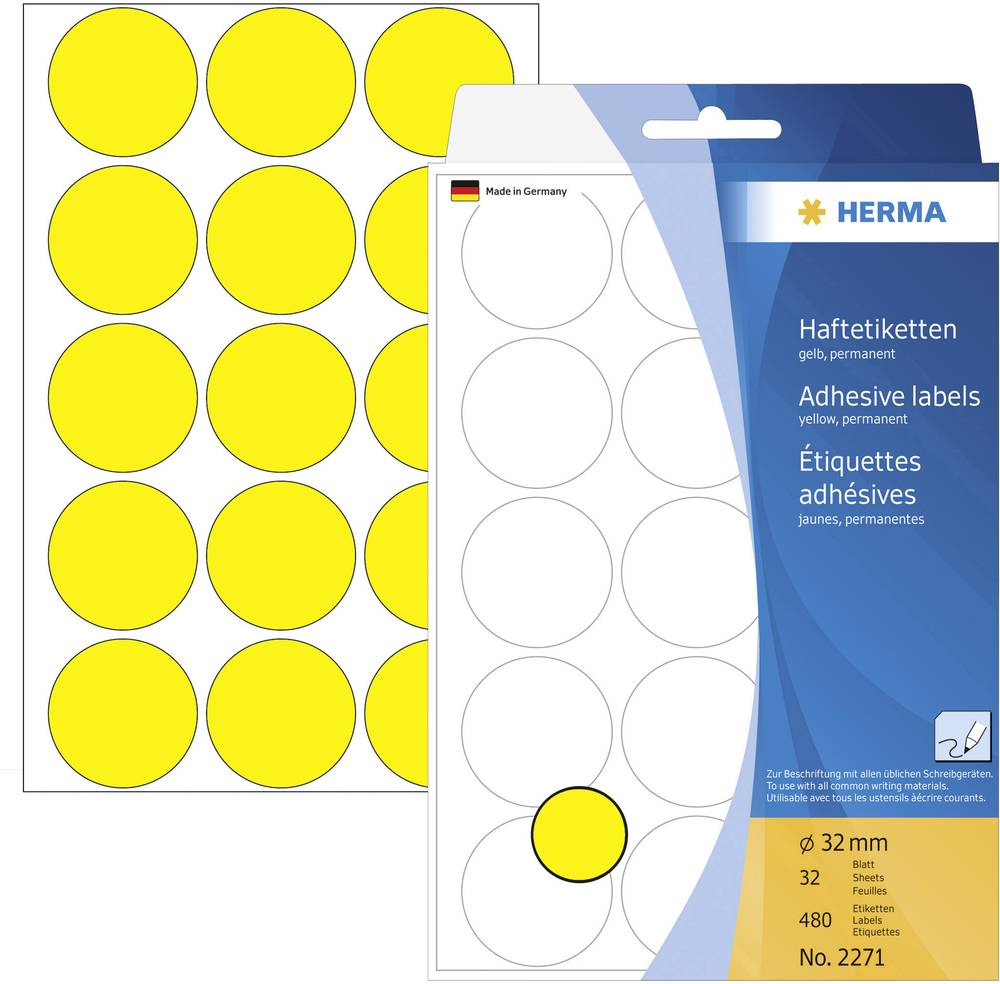 HERMA LABEL MANUAL Ø32 YELLOW (480)