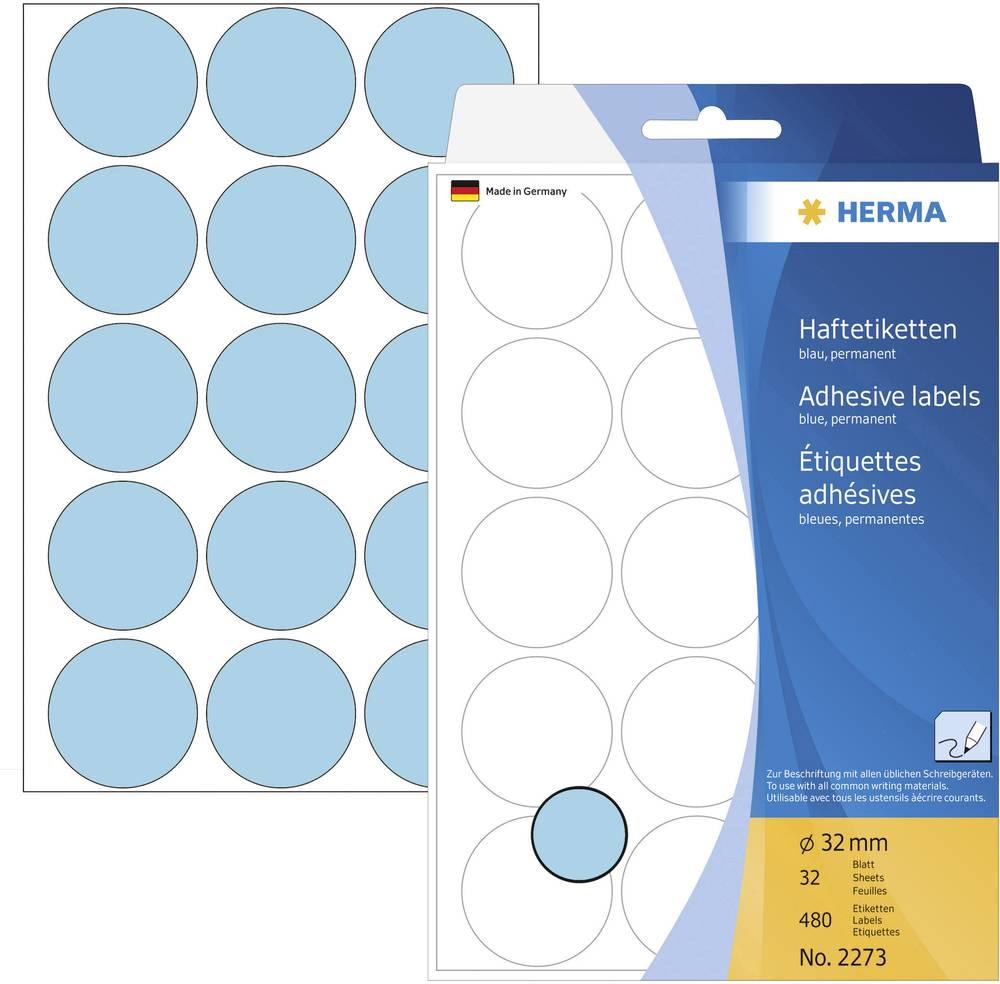 HERMA LABEL MANUAL Ø32 BLUE