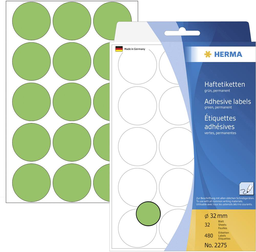 HERMA LABEL MANUAL Ø32 GREEN (480)