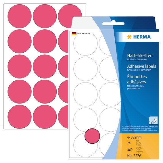 HERMA LABEL MANUAL Ø32 NEON RED (360)