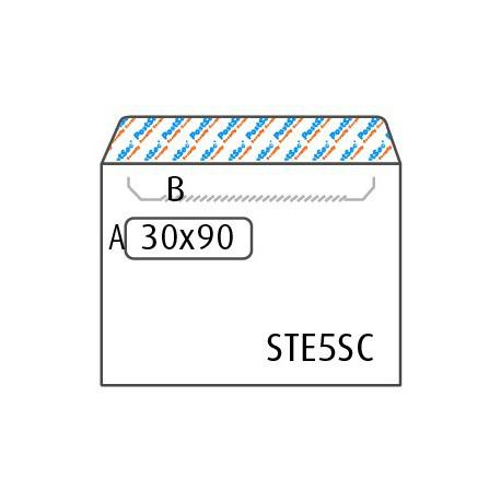 Turvakirjekuori valkoinen E5 ikkuna 30x90, tarranauha, avausperforointi, STE5RHSC3090