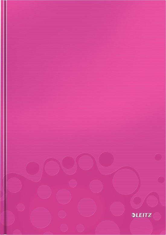 Muistikirja Leitz WOW A4 80s., kova kansi, viivat, pinkki