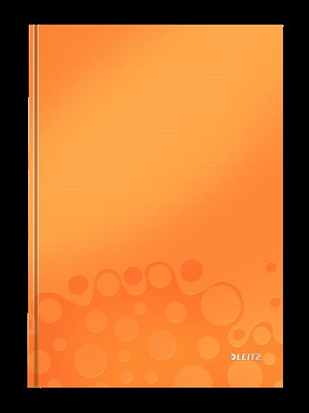 Muistikirja Leitz WOW A4 80s., kova kansi, viivat, oranssi