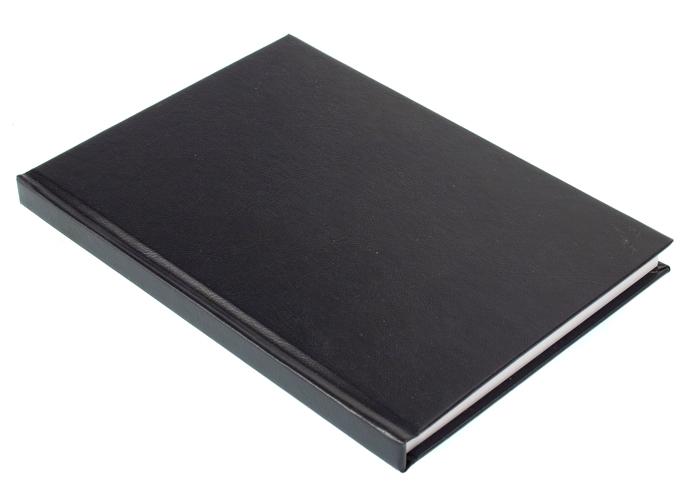Ruutukirja A5, 192 sivua 7x7mm ruudut, kovakant., lankasid, musta